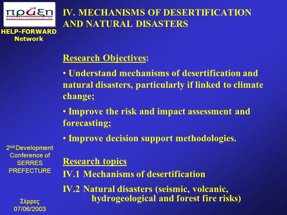 IV. MECHANISMS OF DESERTIFICATION AND NATURAL DISASTERS