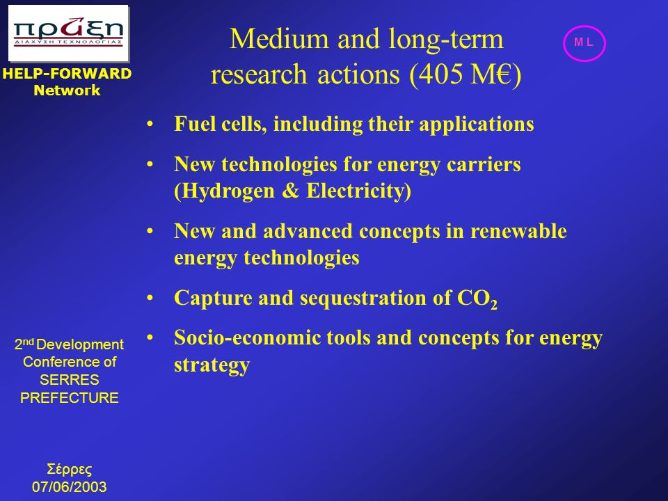 Medium and long-term research actions (405 M€)