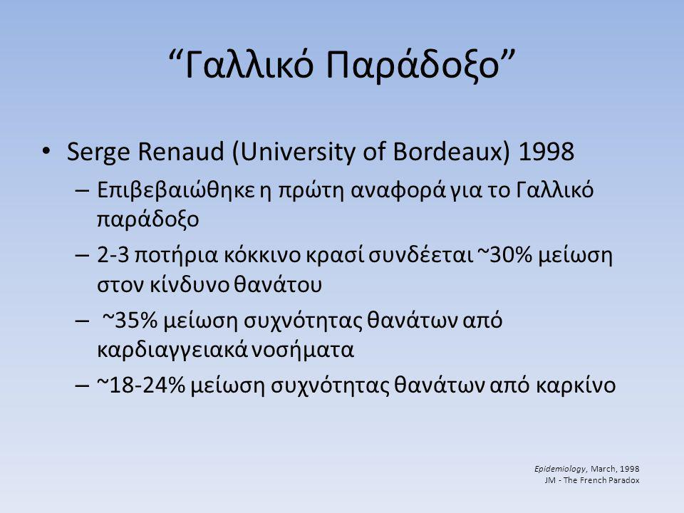 Γαλλικό Παράδοξο Serge Renaud (University of Bordeaux) 1998