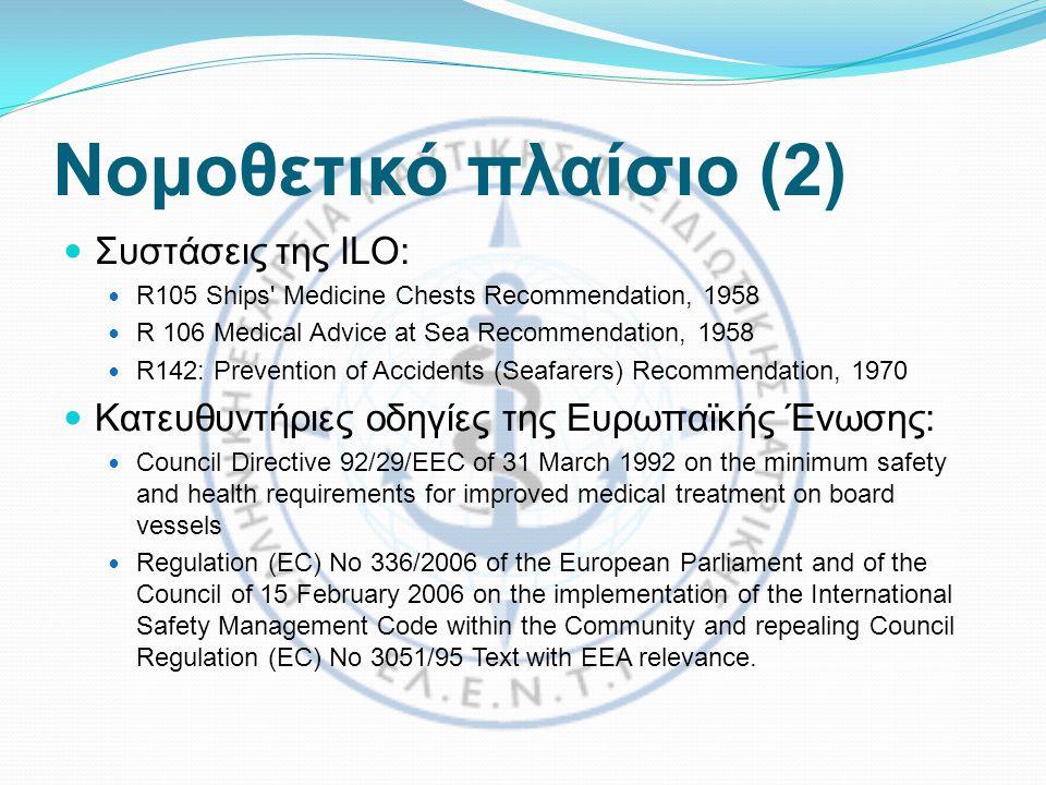 Νομοθετικό πλαίσιο (2) Συστάσεις της ILO: