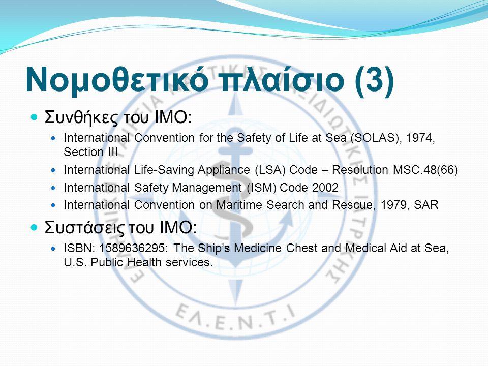 Νομοθετικό πλαίσιο (3) Συνθήκες του ΙΜΟ: Συστάσεις του IMO:
