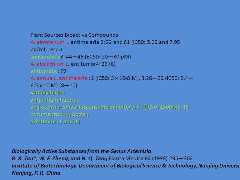 Plant Sources Bioactive Compounds