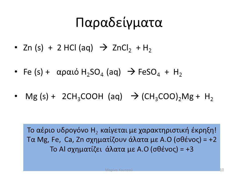 Παραδείγματα Zn (s) + 2 HCl (aq)  ZnCl2 + H2