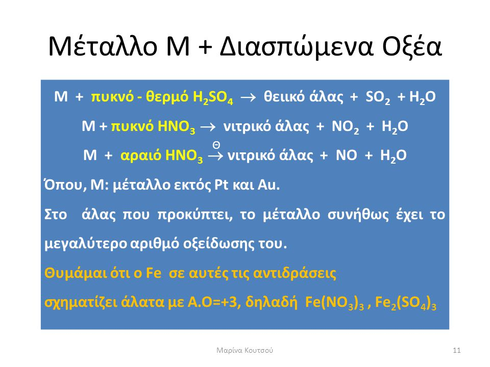 Μέταλλο Μ + Διασπώμενα Οξέα