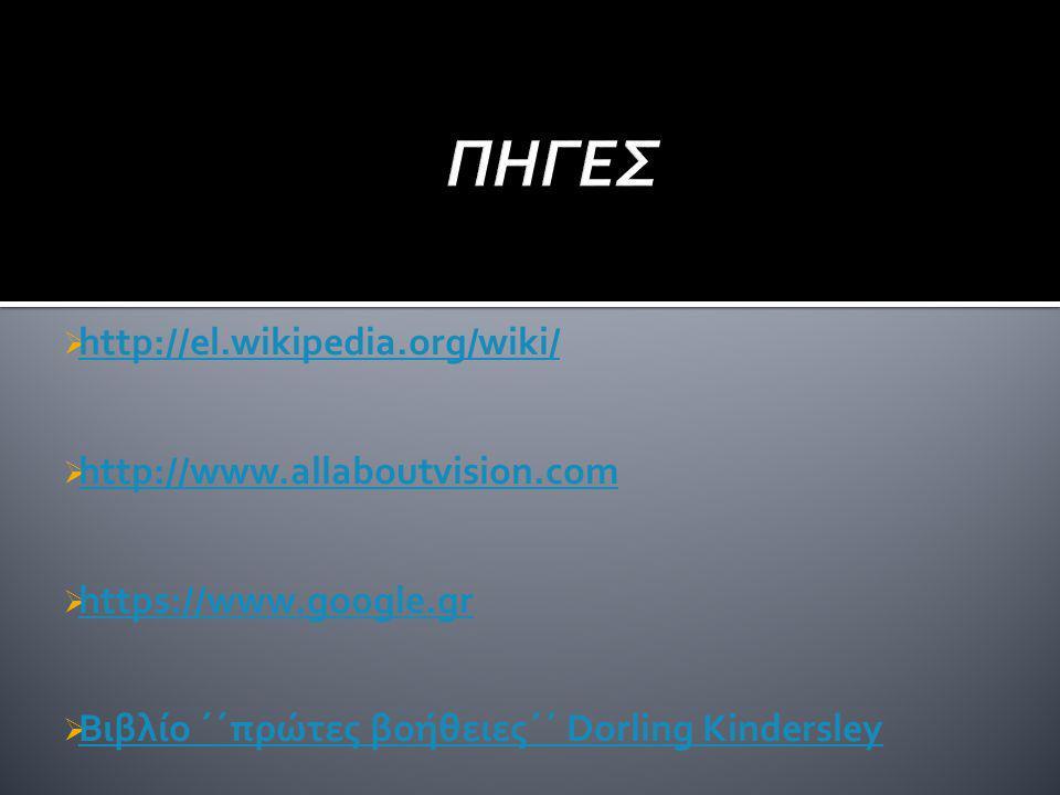 ΠΗΓΕΣ http://el.wikipedia.org/wiki/ http://www.allaboutvision.com