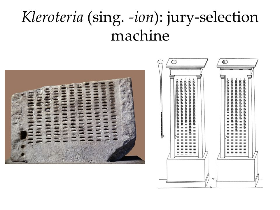 Kleroteria (sing. -ion): jury-selection machine