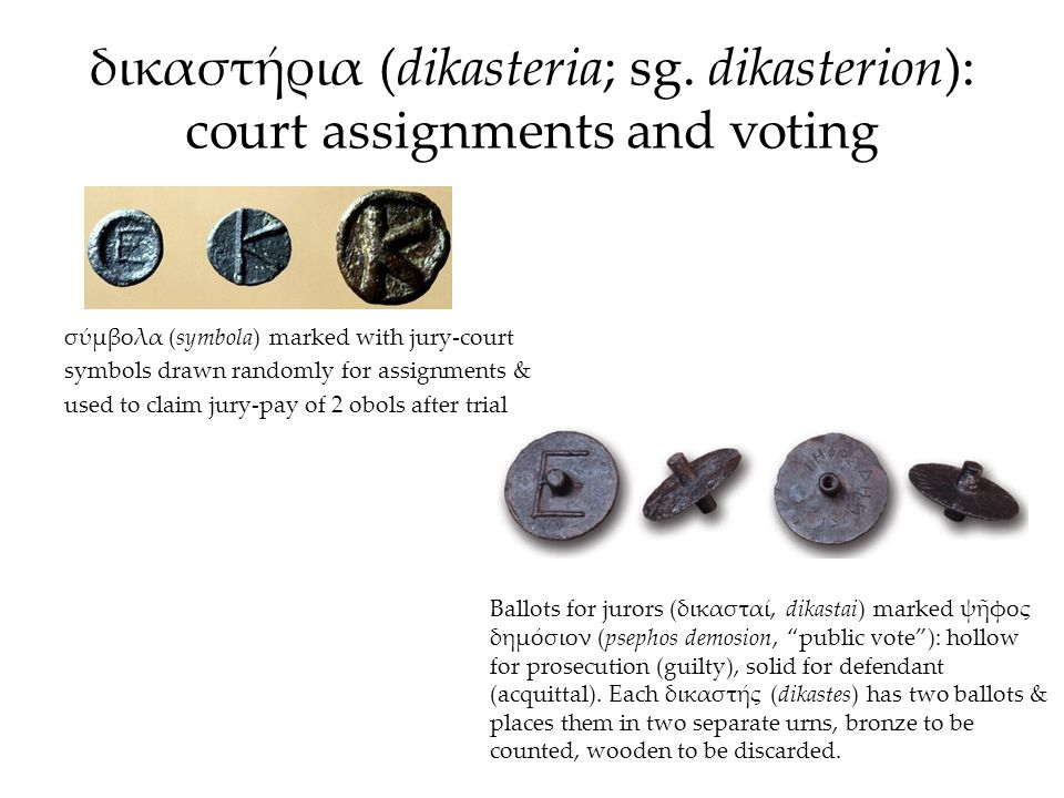 δικαστήρια (dikasteria; sg. dikasterion): court assignments and voting