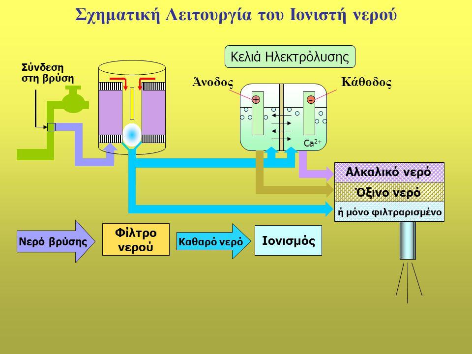Σχηματική Λειτουργία του Ιονιστή νερού
