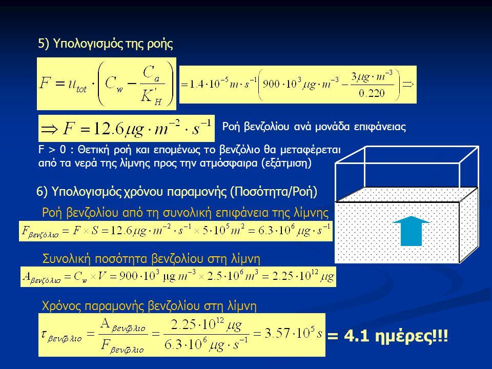 = 4.1 ημέρες!!! 5) Υπολογισμός της ροής
