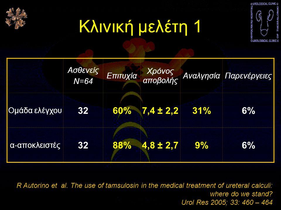 Κλινική μελέτη 1 32 60% 7,4 ± 2,2 31% 6% 88% 4,8 ± 2,7 9% Ασθενείς