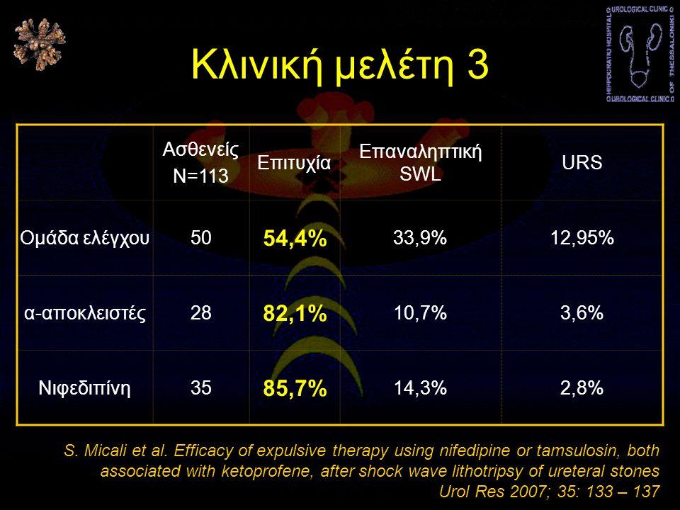 Κλινική μελέτη 3 54,4% 82,1% 85,7% Ασθενείς Ν=113 Επιτυχία