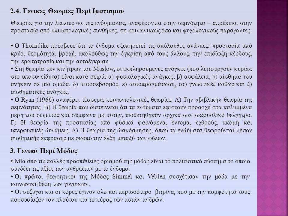2.4. Γενικές Θεωρίες Περί Ιματισμού