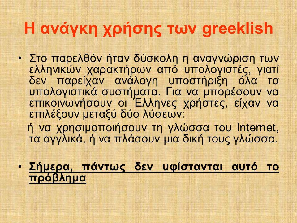 Η ανάγκη χρήσης των greeklish