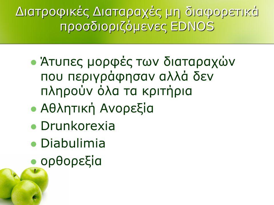 Διατροφικές Διαταραχές μη διαφορετικά προσδιοριζόμενες EDNOS