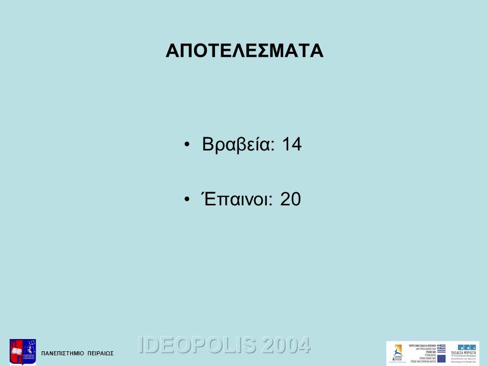 ΑΠΟΤΕΛΕΣΜΑΤΑ Βραβεία: 14 Έπαινοι: 20