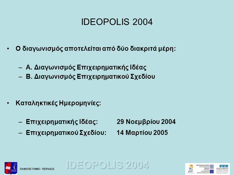 IDEOPOLIS 2004 Ο διαγωνισμός αποτελείται από δύο διακριτά μέρη:
