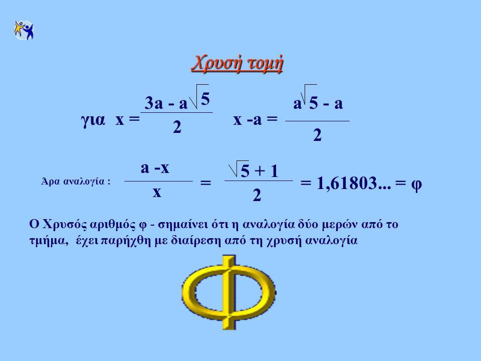 Χρυσή τομή για x = 3a - a 5 2 x -a = a 5 - a a -x x = 5 + 1 2