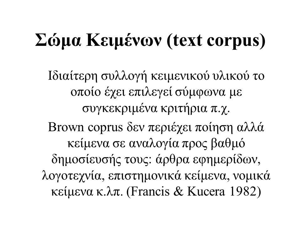 Σώμα Κειμένων (text corpus)