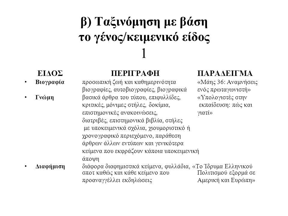 β) Ταξινόμηση με βάση το γένος/κειμενικό είδος 1