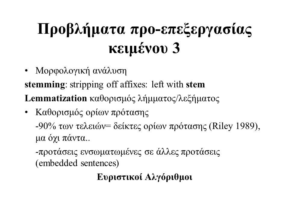 Προβλήματα προ-επεξεργασίας κειμένου 3
