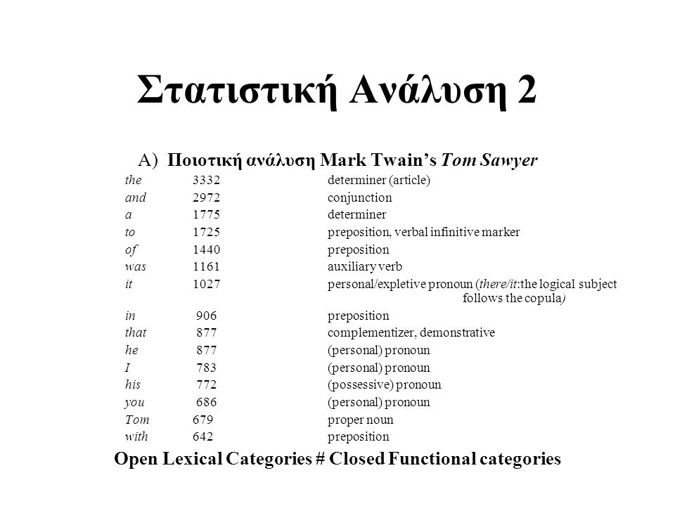 Open Lexical Categories # Closed Functional categories
