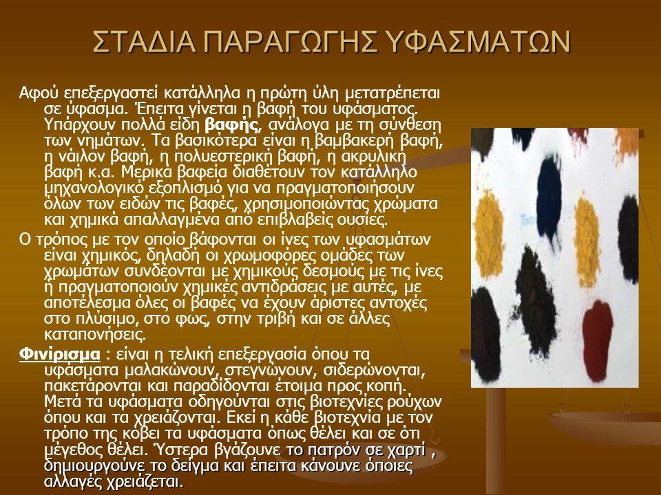 ΣΤΑΔΙΑ ΠΑΡΑΓΩΓΗΣ ΥΦΑΣΜΑΤΩΝ