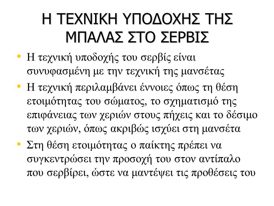 Η ΤΕΧΝΙΚΗ ΥΠΟΔΟΧΗΣ ΤΗΣ ΜΠΑΛΑΣ ΣΤΟ ΣΕΡΒΙΣ