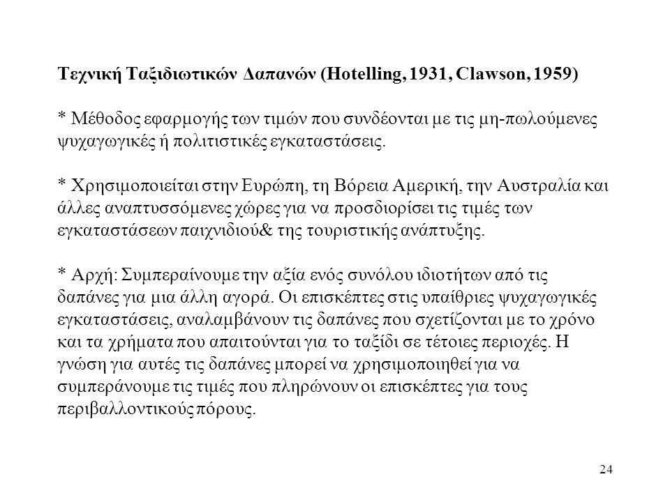 Τεχνική Ταξιδιωτικών Δαπανών (Hotelling, 1931, Clawson, 1959)