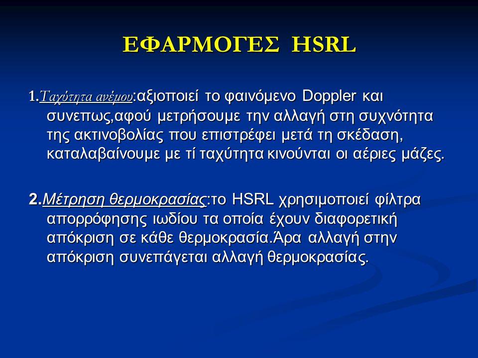 ΕΦΑΡΜΟΓΕΣ HSRL