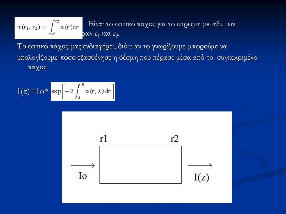 Είναι το οπτικό πάχος για το στρώμα μεταξύ των υψομέτρων r1 και r2.
