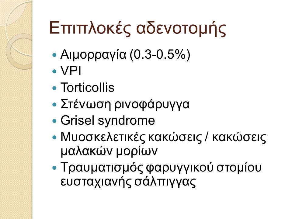 Επιπλοκές αδενοτομής Αιμορραγία (0.3-0.5%) VPI Torticollis
