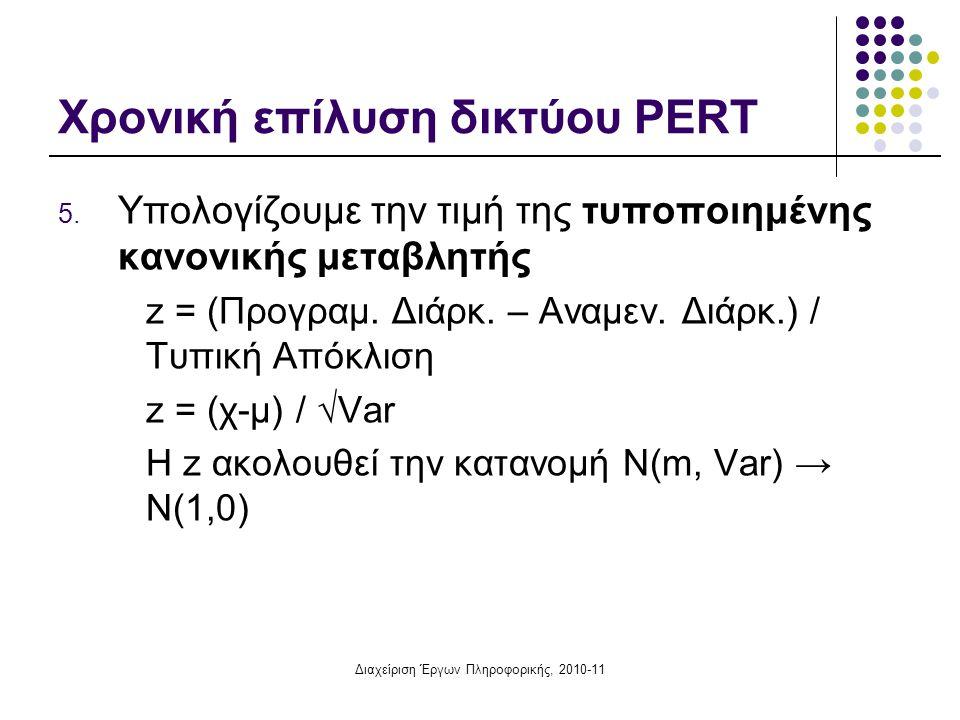 Χρονική επίλυση δικτύου PERT