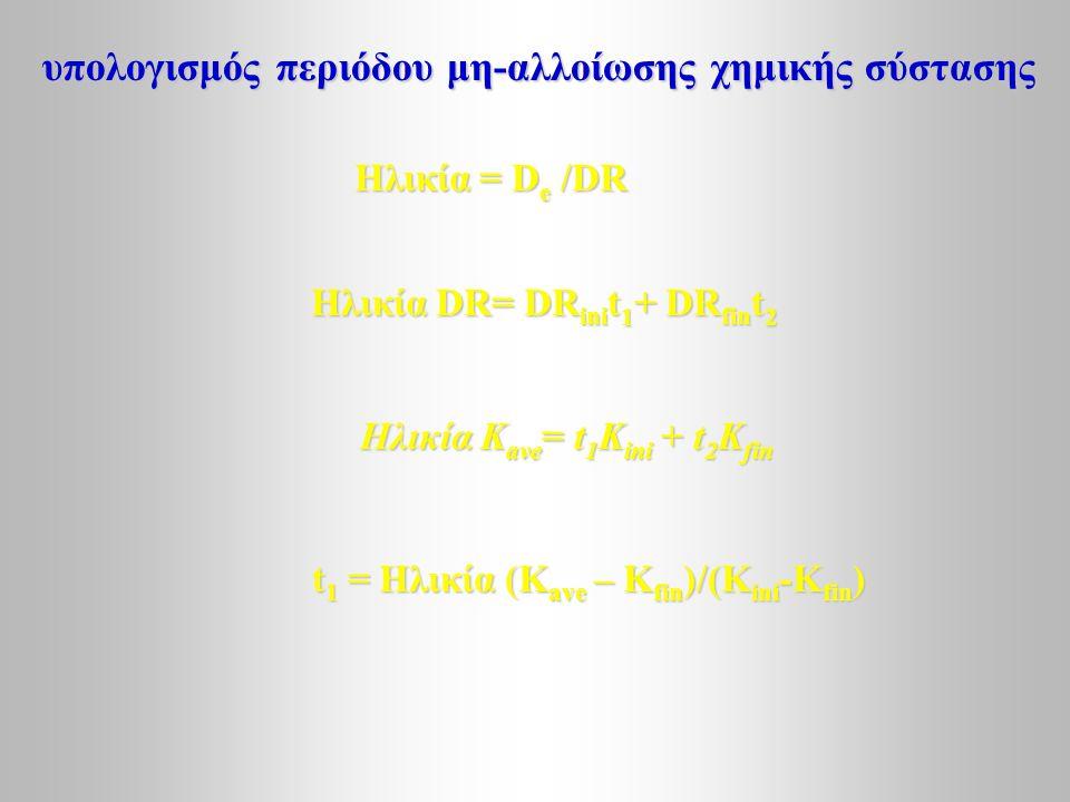 υπολογισμός περιόδου μη-αλλοίωσης χημικής σύστασης