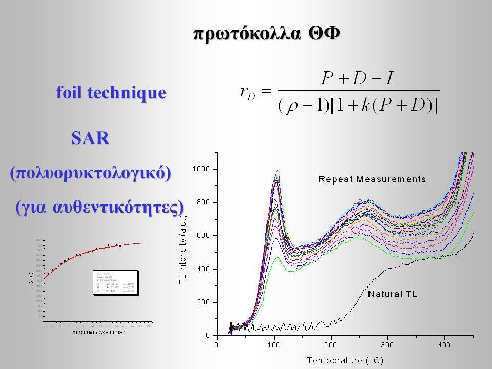 πρωτόκολλα ΘΦ foil technique SAR (πολυορυκτολογικό)
