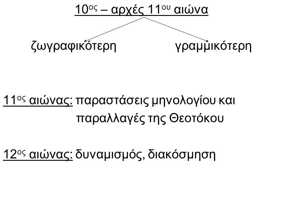10ος – αρχές 11ου αιώνα ζωγραφικότερη γραμμικότερη. 11ος αιώνας: παραστάσεις μηνολογίου και.