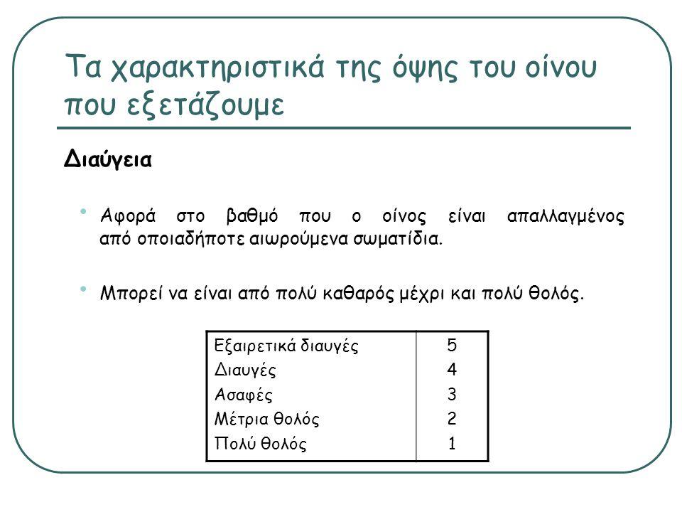 Τα χαρακτηριστικά της όψης του οίνου που εξετάζουμε