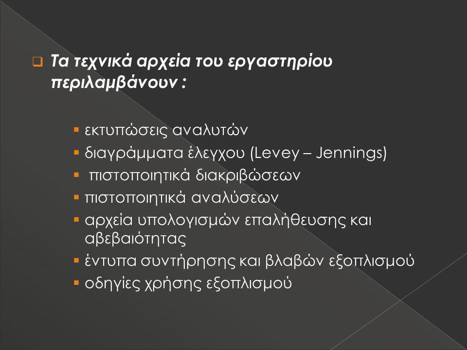 Τα τεχνικά αρχεία του εργαστηρίου περιλαμβάνουν :