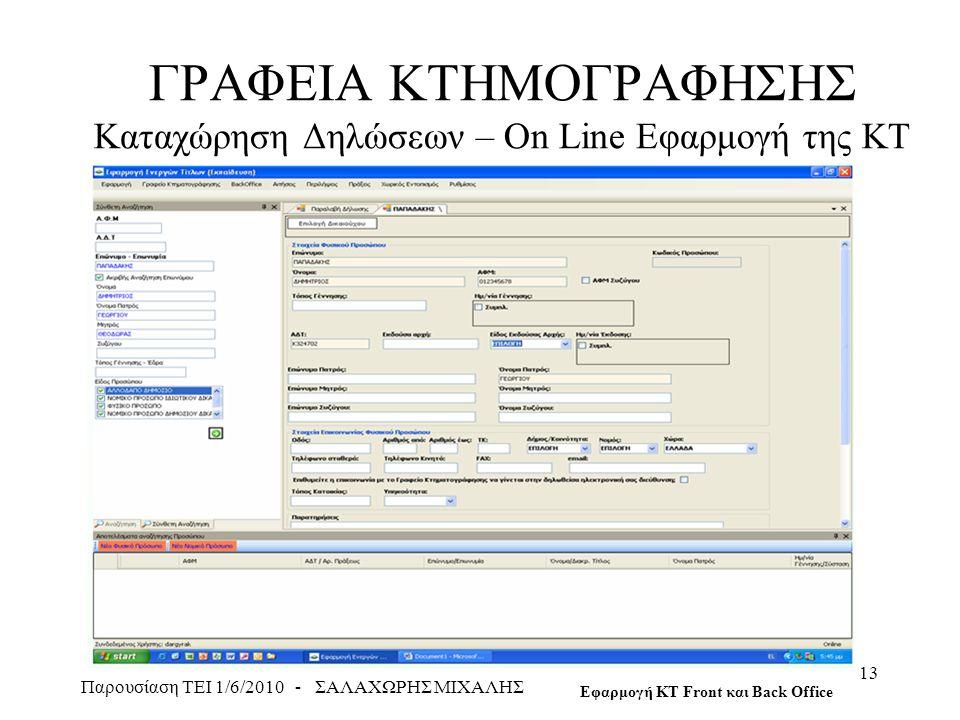 ΓΡΑΦΕΙΑ ΚΤΗΜΟΓΡΑΦΗΣΗΣ Καταχώρηση Δηλώσεων – On Line Εφαρμογή της ΚΤ