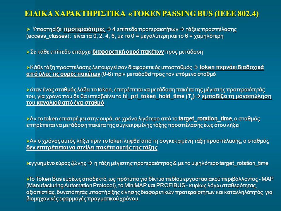 ΕΙΔΙΚΑ ΧΑΡΑΚΤΗΡΙΣΤΙΚΑ «TOKEN PASSING BUS (IEEE 802.4)