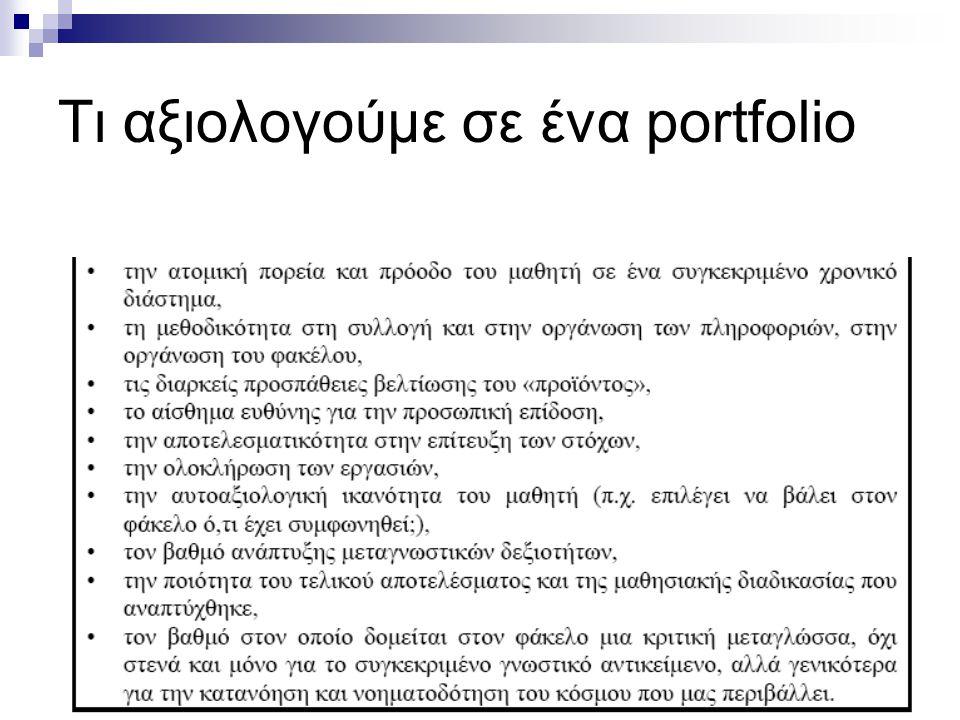 Τι αξιολογούμε σε ένα portfolio