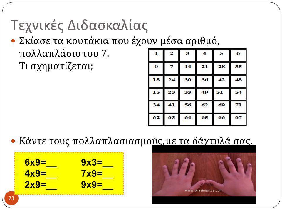 Τεχνικές Διδασκαλίας Σκίασε τα κουτάκια που έχουν μέσα αριθμό, πολλαπλάσιο του 7. Τι σχηματίζεται;