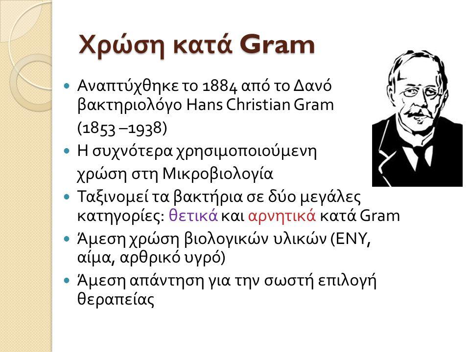 Χρώση κατά Gram Αναπτύχθηκε το 1884 από το Δανό βακτηριολόγο Hans Christian Gram. (1853 –1938) Η συχνότερα χρησιμοποιούμενη.