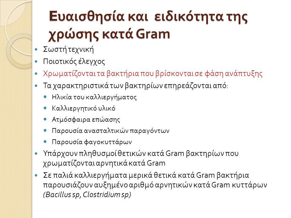 Eυαισθησία και ειδικότητα της χρώσης κατά Gram