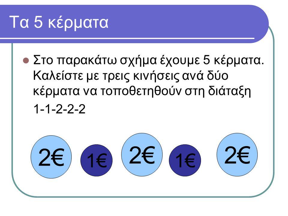 Τα 5 κέρματα Στο παρακάτω σχήμα έχουμε 5 κέρματα. Καλείστε με τρεις κινήσεις ανά δύο κέρματα να τοποθετηθούν στη διάταξη.