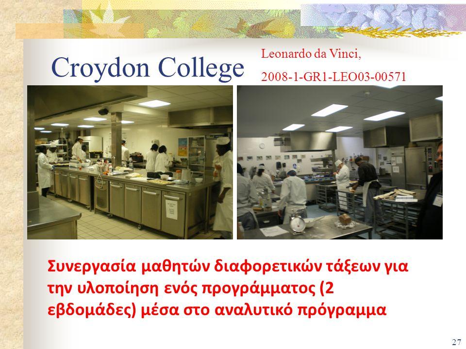 Leonardo da Vinci, 2008-1-GR1-LEO03-00571. Croydon College.