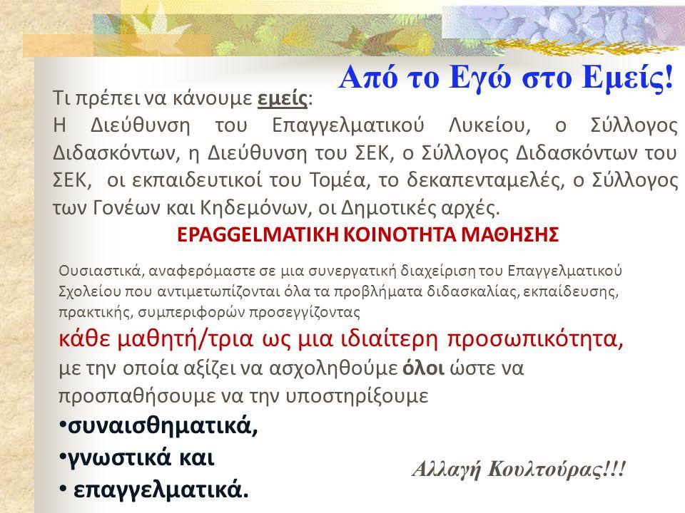 EPAGGELMATIKH ΚΟΙΝΟΤΗΤΑ ΜΑΘΗΣΗΣ