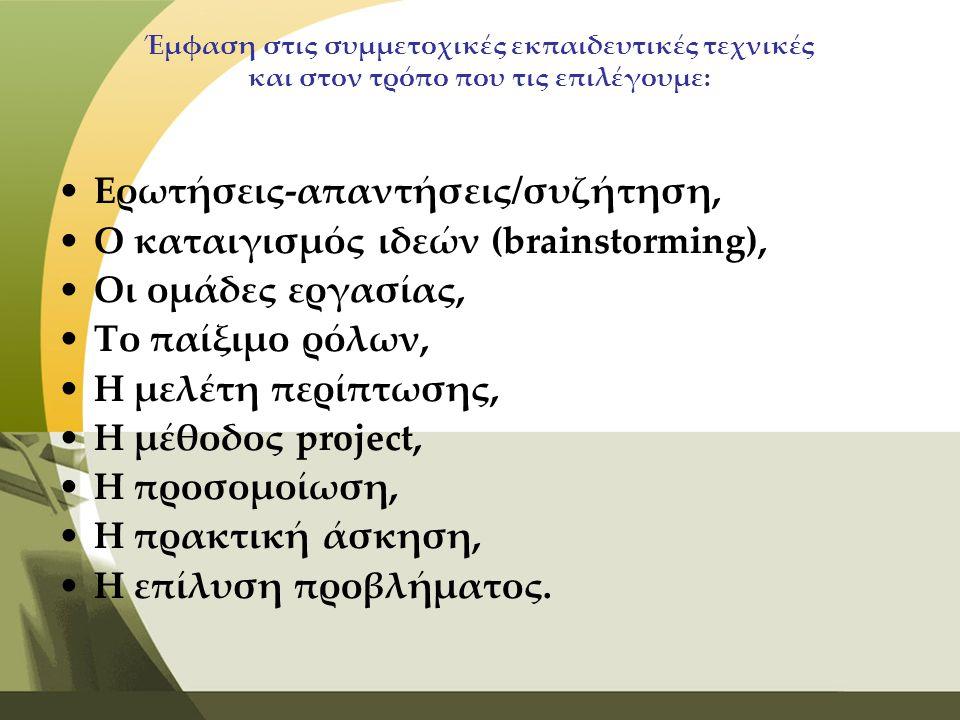 Ερωτήσεις-απαντήσεις/συζήτηση, Ο καταιγισμός ιδεών (brainstorming),