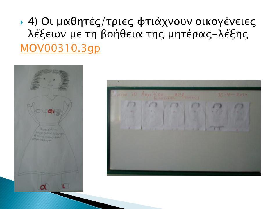 4) Οι μαθητές/τριες φτιάχνουν οικογένειες λέξεων με τη βοήθεια της μητέρας-λέξης