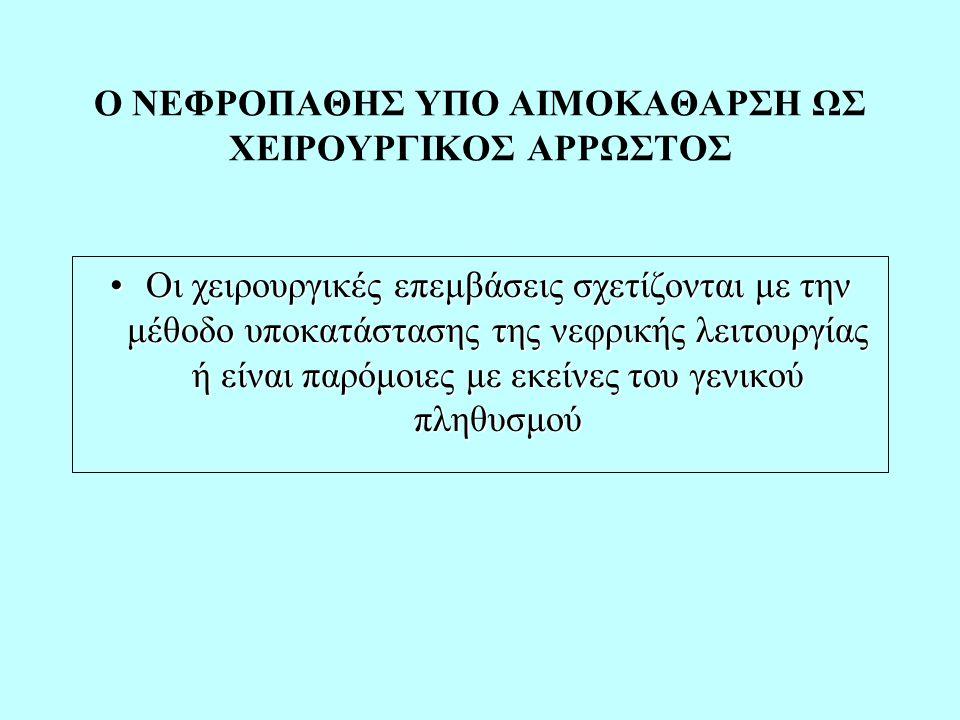 Ο ΝΕΦΡΟΠΑΘΗΣ ΥΠΟ ΑΙΜΟΚΑΘΑΡΣΗ ΩΣ ΧΕΙΡΟΥΡΓΙΚΟΣ ΑΡΡΩΣΤΟΣ