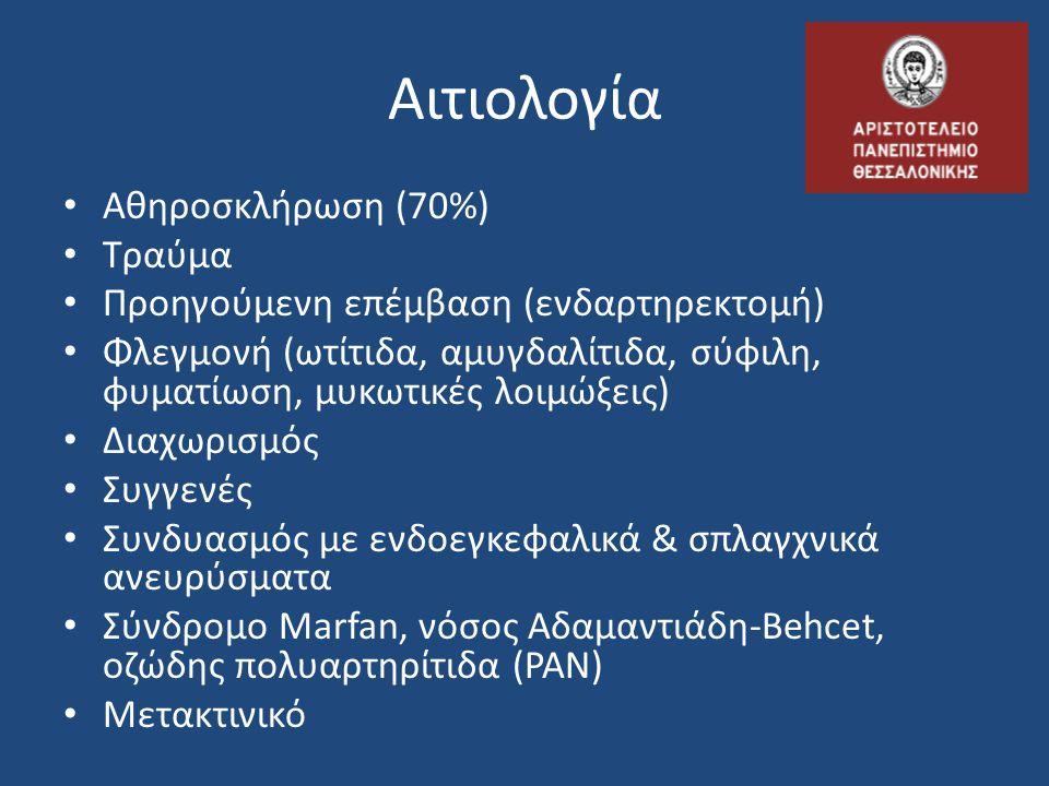 Αιτιολογία Αθηροσκλήρωση (70%) Τραύμα